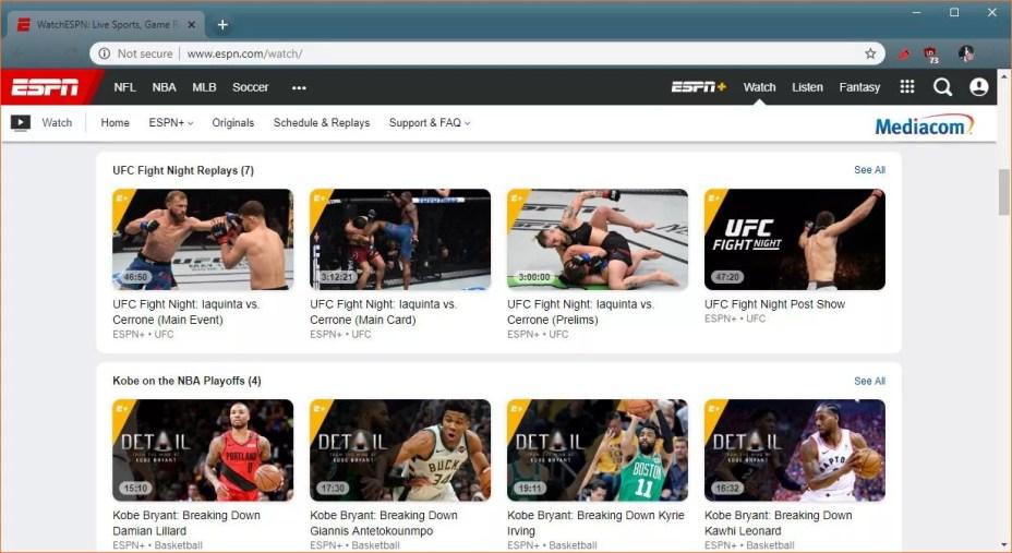 A screenshot of ESPN+.
