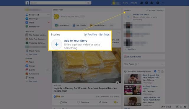 Section Histoires Facebook sur la page d'accueil
