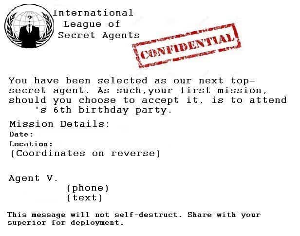 Spy party ideas invitations games and more life with gremlins secret agent birthday party invitation filmwisefo