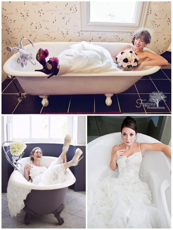 awkward wedding photo posses brides in bathtubs