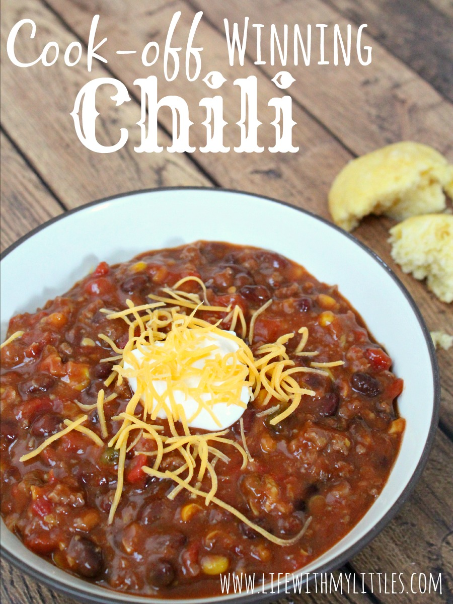 Cook-Off Winning Chili: The best and easiest chili to help you win those chili cook-offs! And it only has five ingredients!