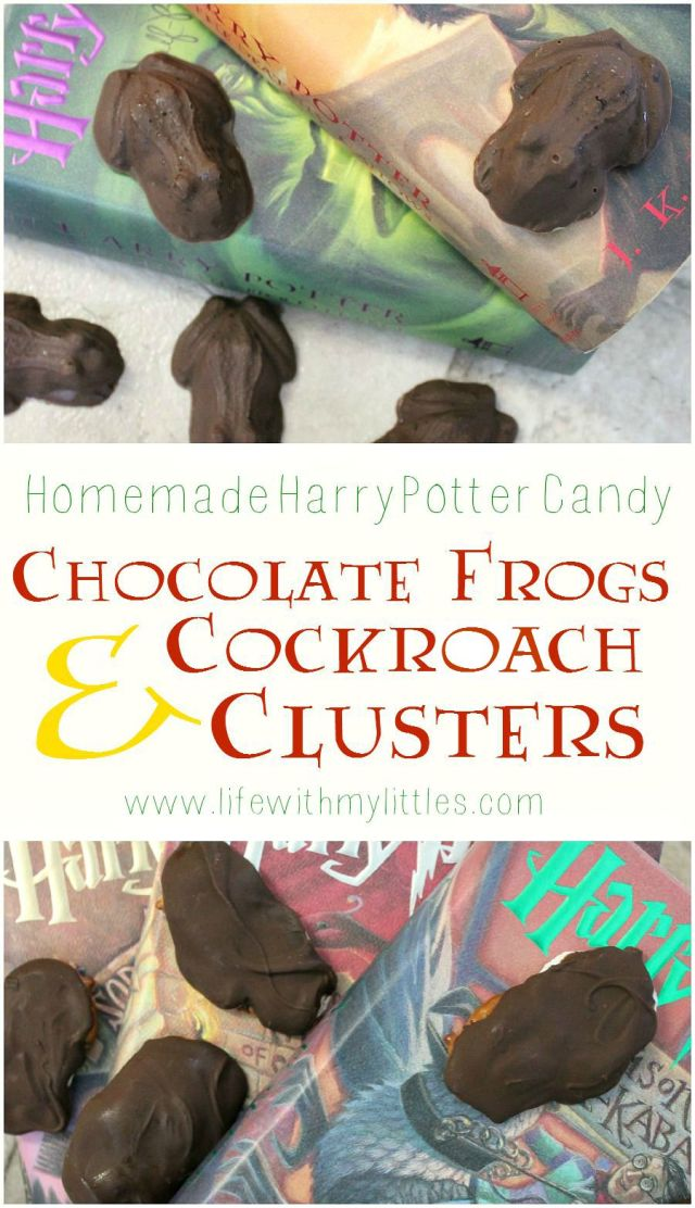 Homemade Harry Potter candy: learn how to make chocolate frogs and cockroach clusters! The perfect Harry Potter desserts!