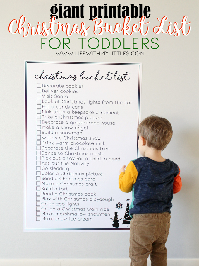 giant printable christmas bucket list for toddlers life with my