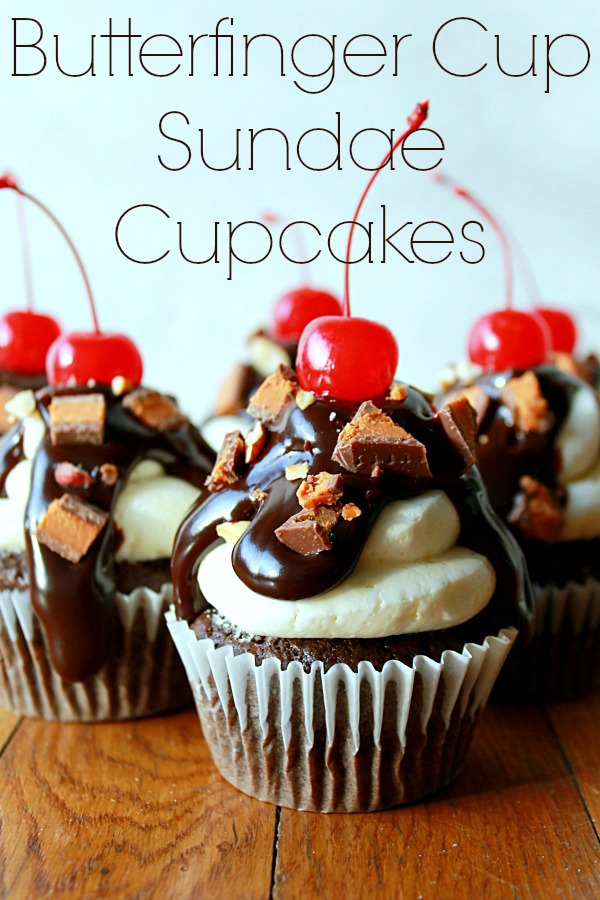 ButterFinger Cup Sundae Cupcakes #thatnewcrush #shop, #cbias