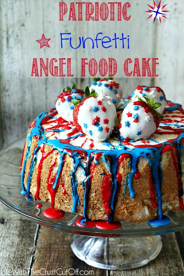Patriotic Funfetti Angel Food Cake