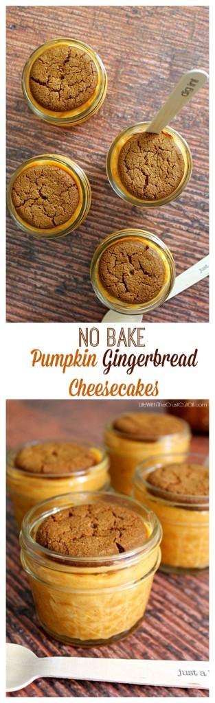 Pumpkin Gingerbread No Bake Cheesecakes