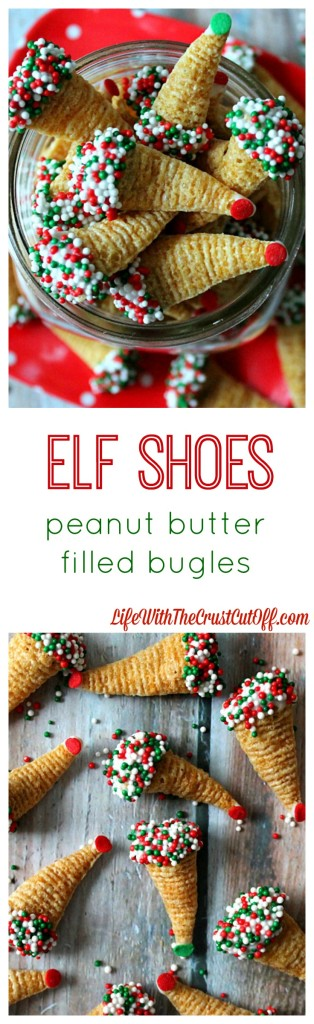 Elf Shoes (Peanut Butter Filled Bugles)  The easiest most addicting holiday snack!