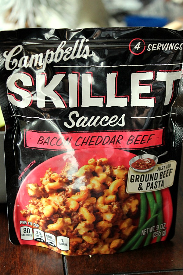 Easy recipes with #CampbellsSauces like Bacon Beef Cheddar Skillet Sauce