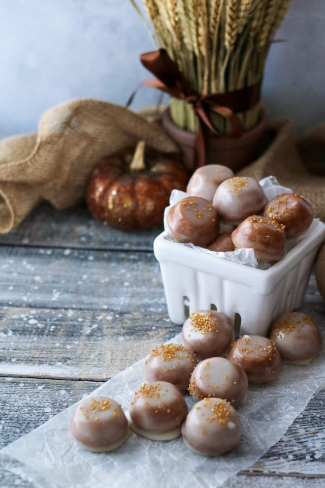 Pumpkin Spice Glazed Cake Bites, perfect for fall (1 of 1)
