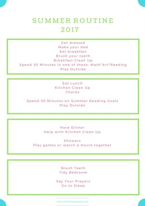 summer routine printable