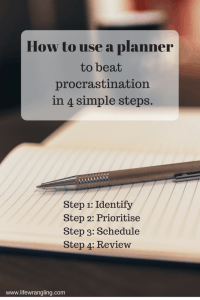 Overcome procrastination by following these 4 simple steps in your planner today. Find out how to do it at:http://www.lifewrangling.com/planner-procrastination/ ‎