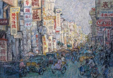 Hong Kong Street Scene Oil Painting
