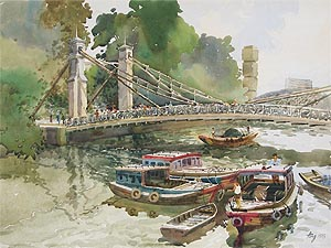 Singapore River Cavenagh Bridge, Watercolor Painting