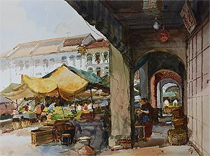 Singapore , Watercolor Painting