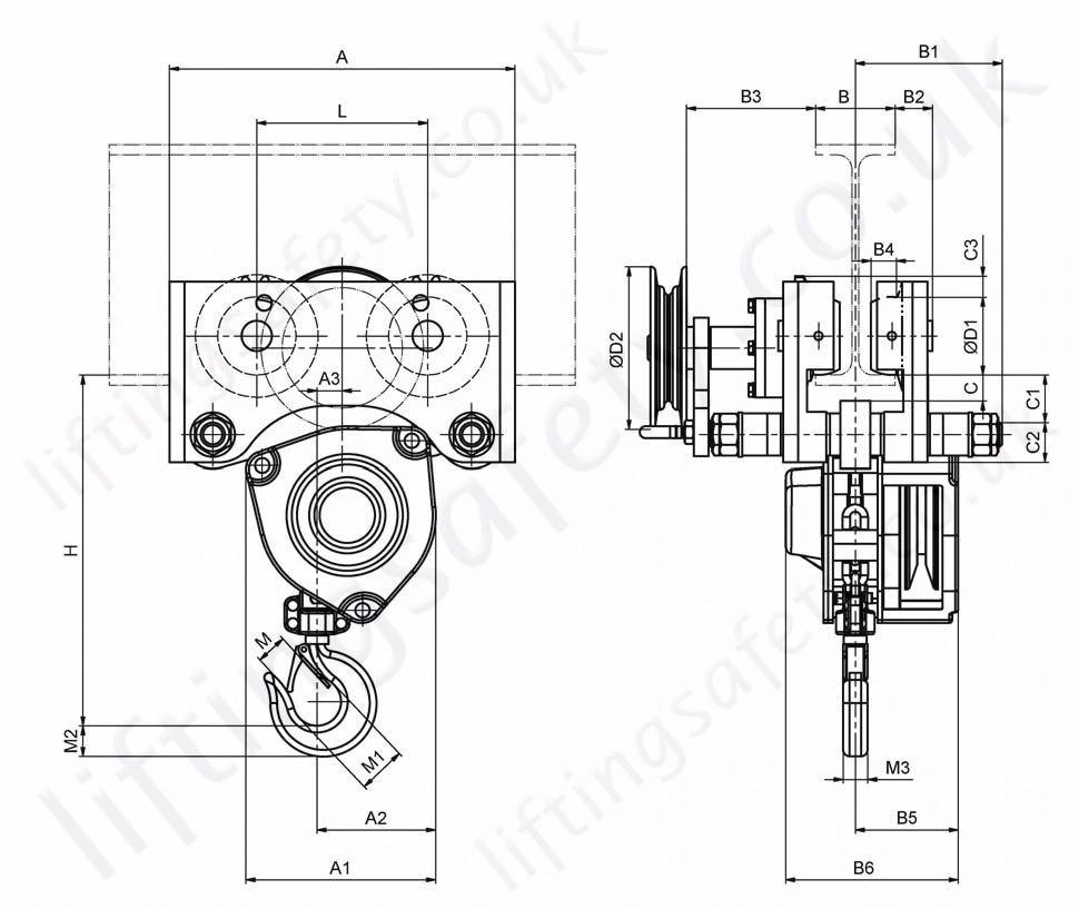hight resolution of hadef 21 12 hr spur gear hoist push travel trolley dimensions