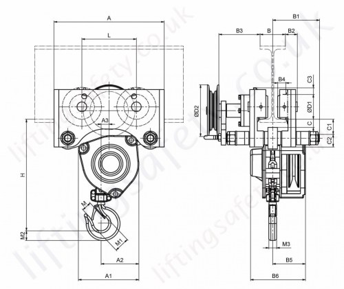 small resolution of hadef 21 12 hr spur gear hoist push travel trolley dimensions