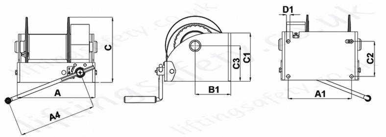 Hadef 238/10 Worm Gear Wire Rope Winch, Single or Dual