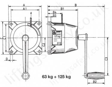 Hadef 199/75 Aluminium Wire Rope Manual Winch, Range 63kg
