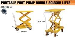 Portable foot pump double scissor lift