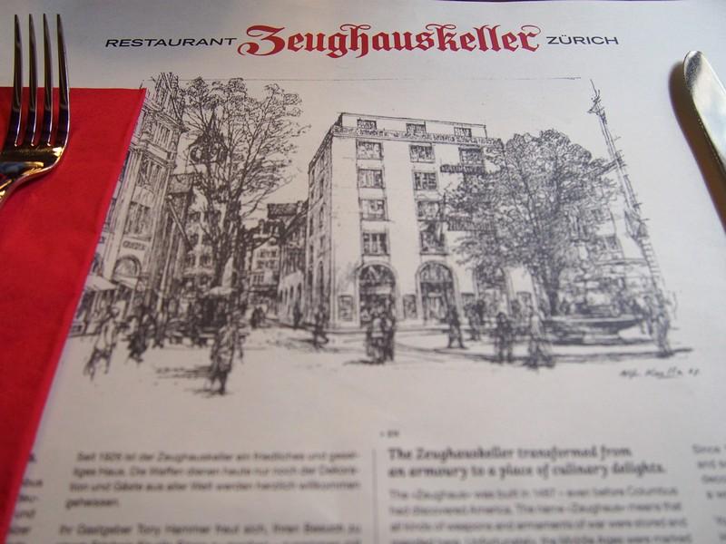 Restaurante Zeughauskeller em Zurique na Suíça - Mesa