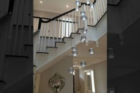 Long stairwell chandeliers modern glass chandeliers and ...