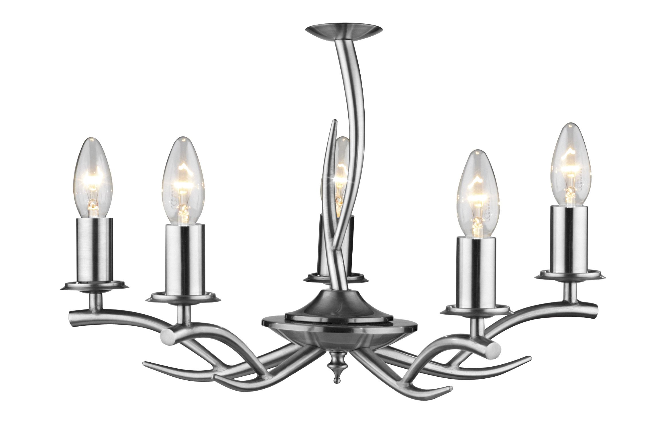 0 3 Elka 5 Light Satin Chrome Ceiling Light Class 2 Double