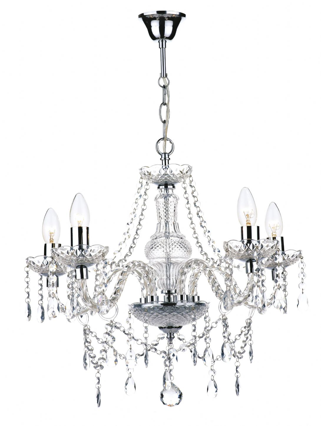 Katie 5 Light Polished Chrome Chandelier Ceiling Light