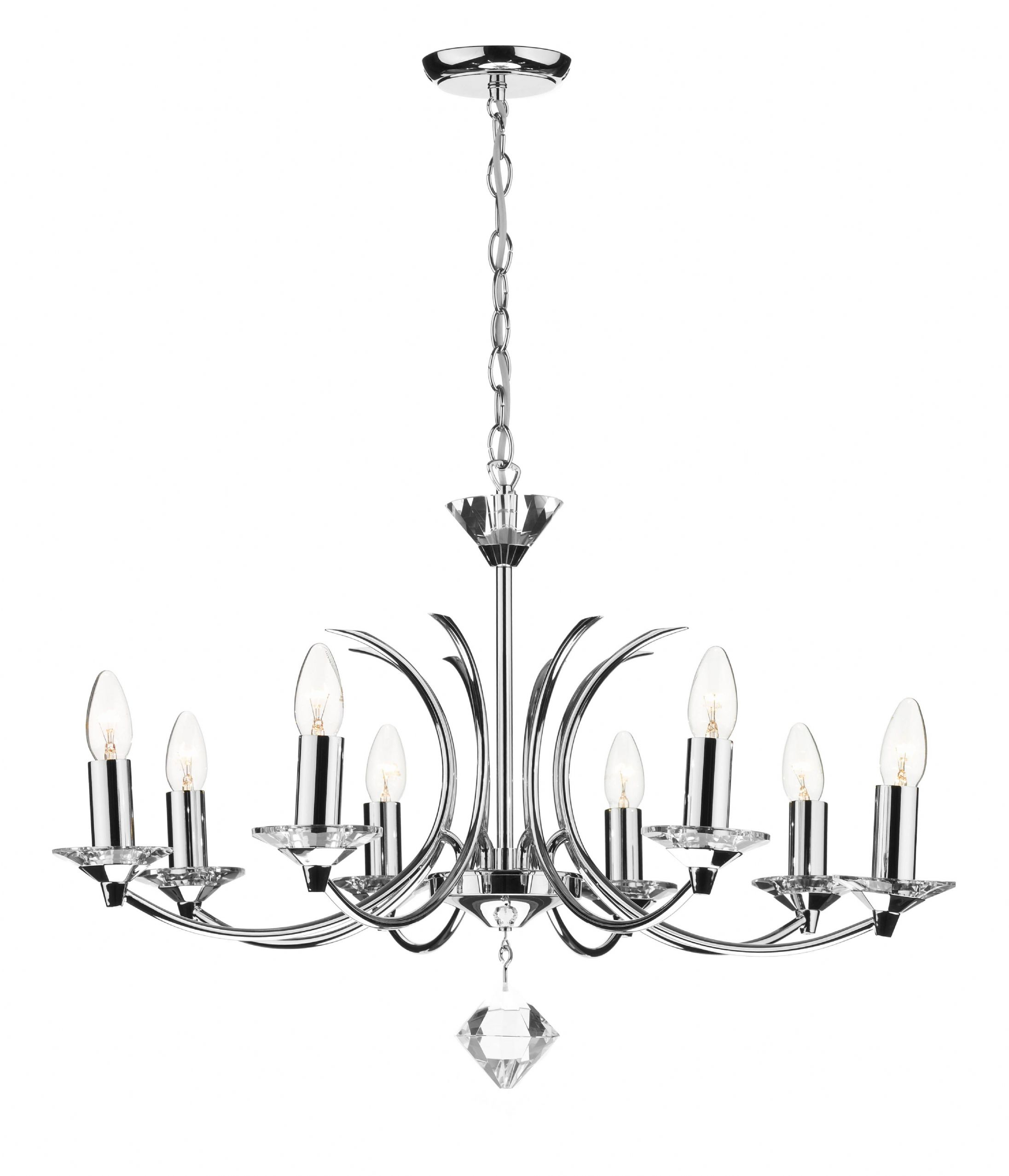 Medusa 8 Light Polished Chrome K9 Crystal Ceiling Light