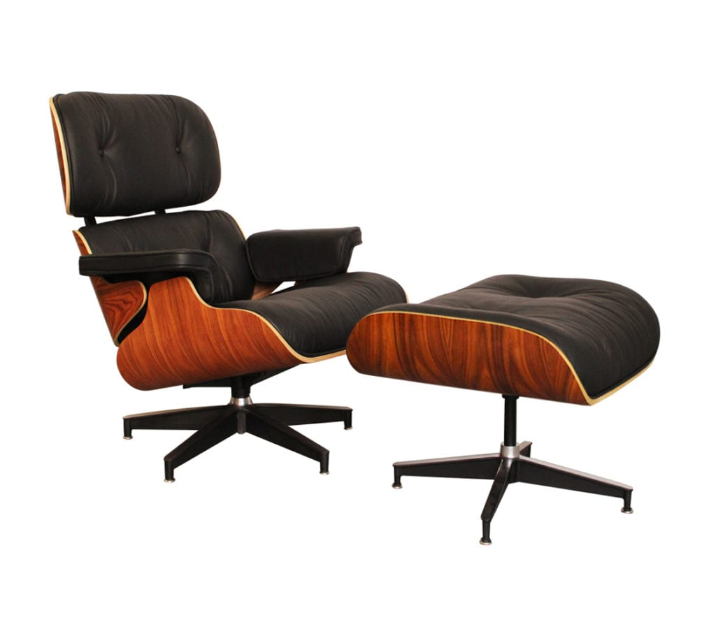 eames style lounge chair and ottoman rosewood black leather outdoor baby portable high charles ray