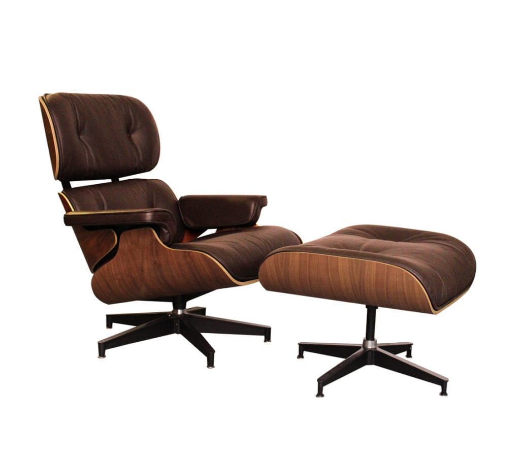 Walnut Brown Leather Charles and Ray Eames Style Lounge