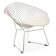 Bertoia Style Chair White Leather Living Room Harry Wire Bar Stool Light And Glory