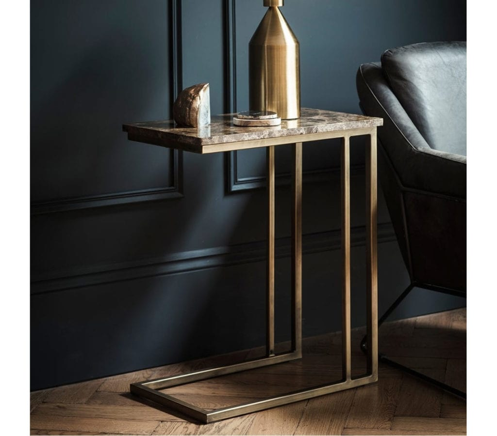 Forde Contemporary Gold Side Table With Brown Marble Top  Light  Glory
