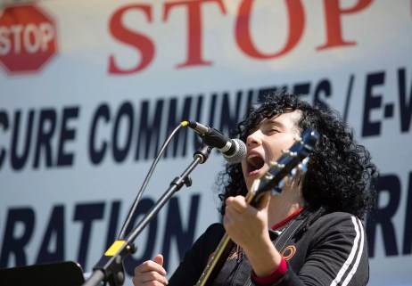 protest singer, may day, seattle 2013
