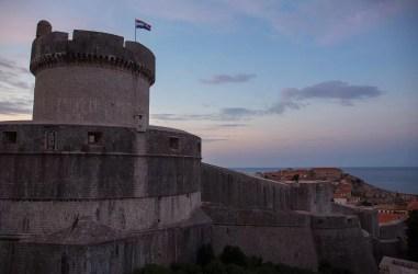 Minčeta Tower at dawn in Dubrovnik, Croatia.