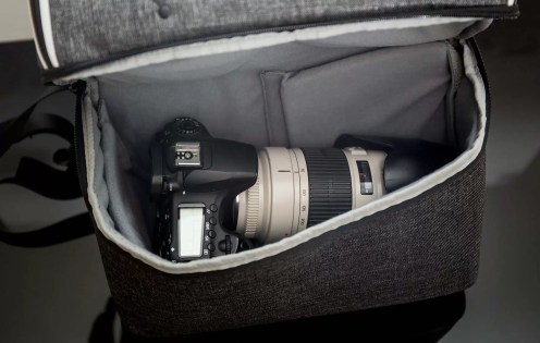 The camera compartment of this backpack is large enough to hold a DSLR and large lens, or a couple of small lenses.