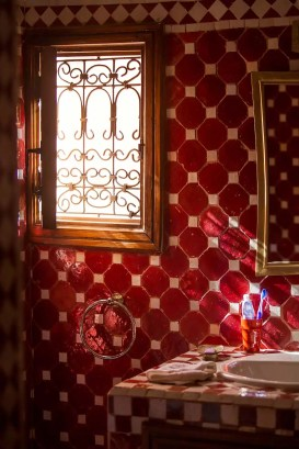 My red-tiled bathroom.