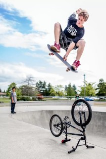 Here I shot at +2 to keep the skater from going completely black against the bright sky. Shot with 5D Mark III.