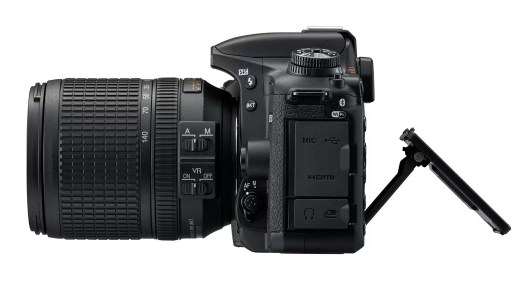 The tilting screen of the D7500 can not be rotated to face forward, like that on the D5600.