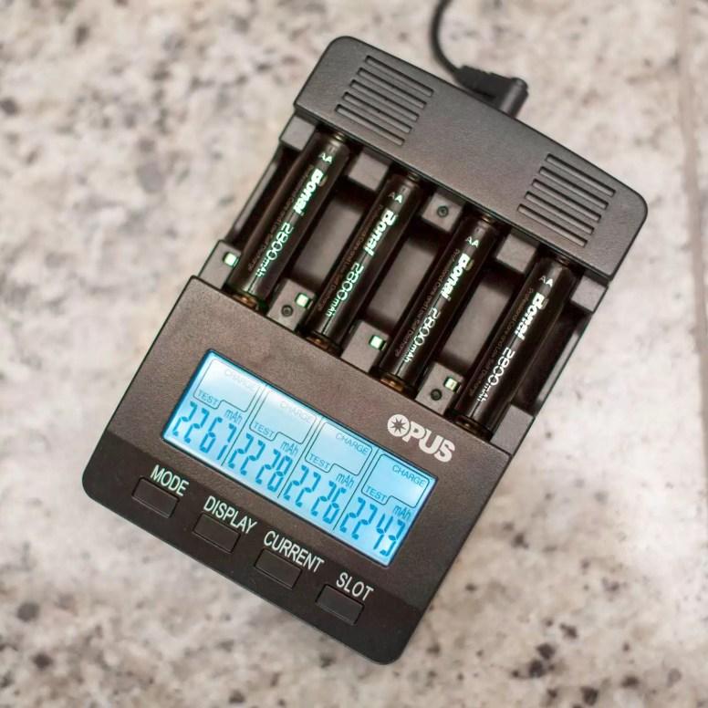 Bonai batteries showing a tested capacity of around 2200 mAh.
