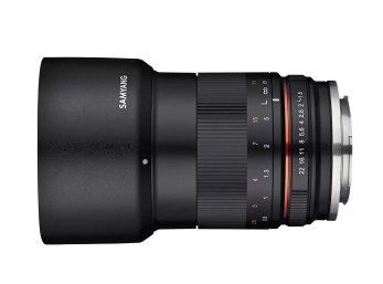 rokinon 85mm f/1.8 lens for APS-C, side view with hood