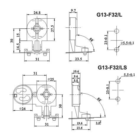 fluorescent light starter socket T8 lamp holders F32 LS