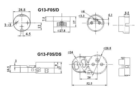T8 Push on fluorescent LED tube lamp holders G13 Base