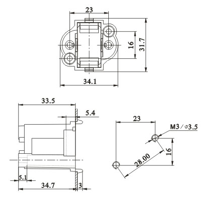 G23 GX23 Surface mountd H Tube Push in lamp holders