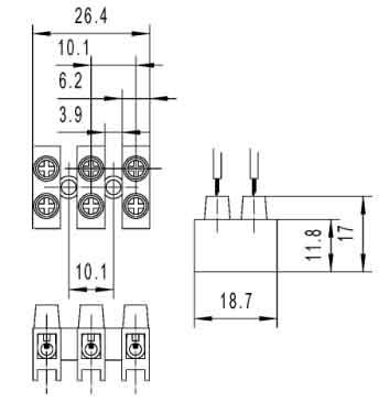 Low Voltage PCB 100 Amp Plastic Spade Screw Terminal Block