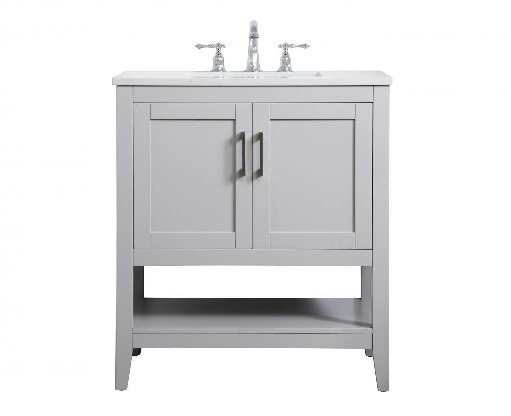 30 Inch Single Bathroom Vanity In Grey Vf16030gr Light Gallery Plus