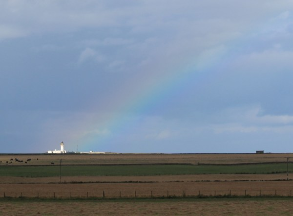 Noss Head under the rainbow - thanks to Sarah Kerr for the photo
