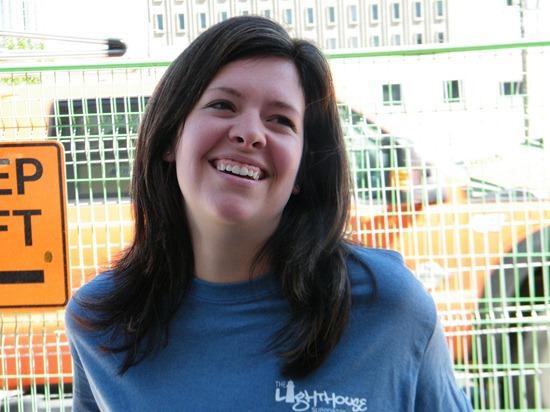 DeeAnn Mercier with the new staff t-shirts
