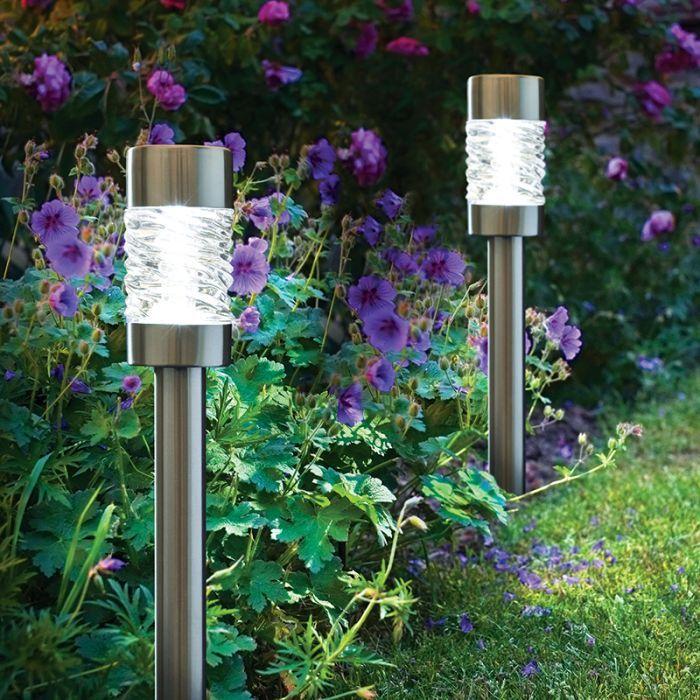martello outdoor solar led stake light brushed stainless steel set of 4