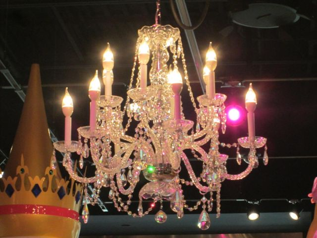 In The New Disney Burlington Mall There S This Chandelier By Princess Castle Note Pink Light Is Not Part Of