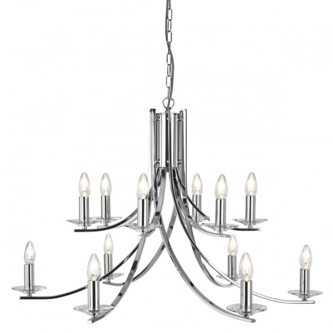 Polished Chrome 12 Light Ceiling Pendant 2 Tiers- Lighting